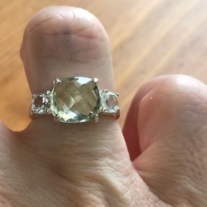 Jewelry - Beautiful Green and White Topaz Sterling Ring
